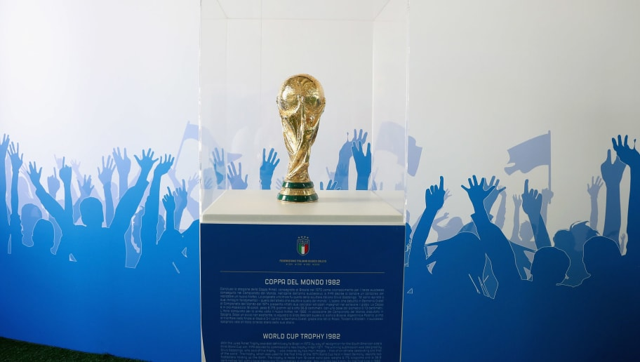 MATERA, ITALY - JUNE 19:  World Cup Trophy 1982 is shown during FIGC 120 Years Exhibition on June 19, 2018 in Matera, Italy.  (Photo by Maurizio Lagana/Getty Images)