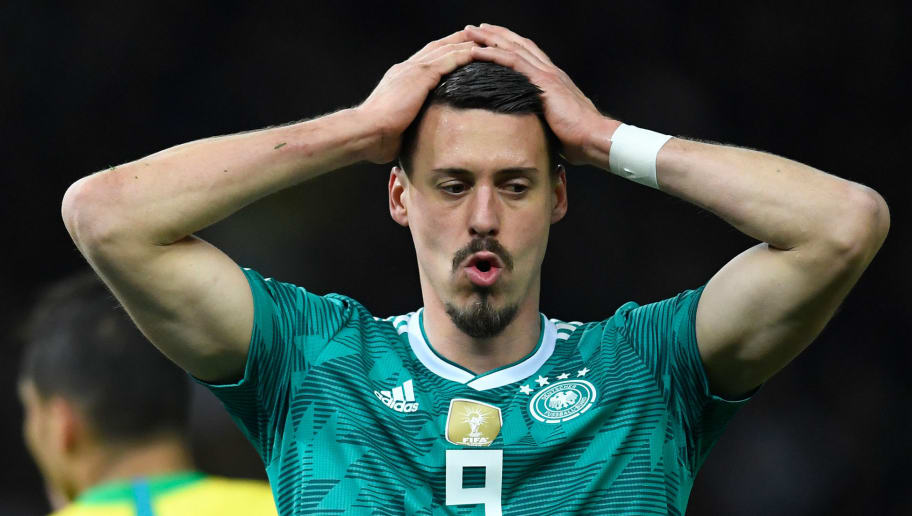 (FILES) Germany's striker Sandro Wagner reacts during the international friendly football match between Germany and Brazil in Berlin, on March 27, 2018. - Wagner declared his resignation from the German national football team in an interview with German tabloid 'Bild' on May 16, 2018, one day after he was not named into the pre-squad of German national team coach Joachim Loew for the 2018 FIFA Football World Cup. (Photo by ROBERT MICHAEL / AFP) / ALTERNATIVE CROP        (Photo credit should read ROBERT MICHAEL/AFP/Getty Images)
