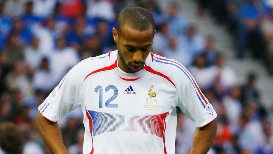 BERLIN - JULY 9: Thierry Henry of France reacts to a missed opportunity during the FIFA World Cup Germany 2006 Final match between Italy and France at the Olympic Stadium on July 9, 2006 in Berlin, Germany.  (Photo by Shaun Botterill/Getty Images)