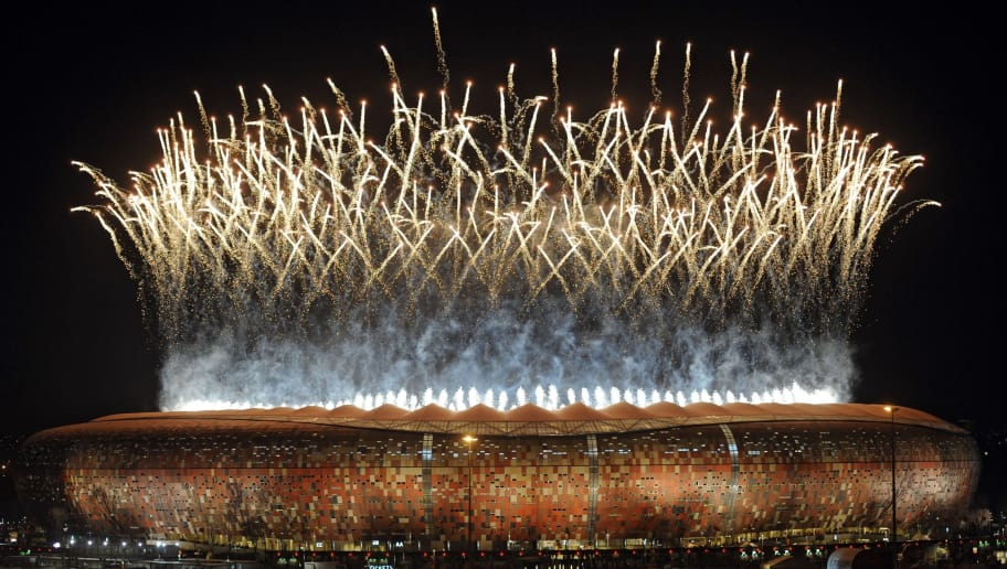 Fireworks light up the sky over Soccer City stadium in Soweto, in suburban Johannesburg after the 2010 World Cup football final between the Netherlands and Spain on July 11, 2010. Spain won the match 1-0 in extra time to take home the World Cup title.      AFP PHOTO / Monirul Bhuiyan (Photo credit should read Monirul Bhuiyan/AFP/Getty Images)
