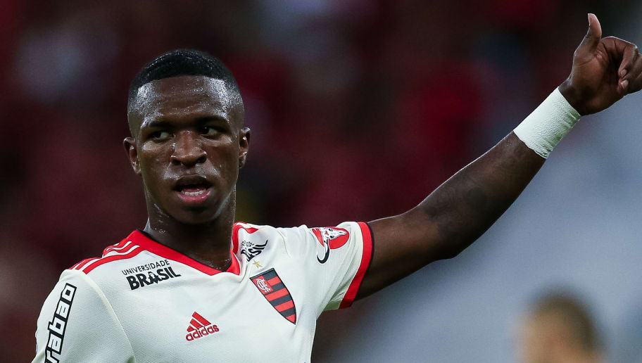 RIO DE JANEIRO, BRAZIL - MAY 31: Vinicius Jr of Flamengo gestures during a match between Flamengo and Bahia as part of Brasileirao Series A 2018 at Maracana Stadium on May 31, 2018 in Rio de Janeiro, Brazil. (Photo by Buda Mendes/Getty Images)