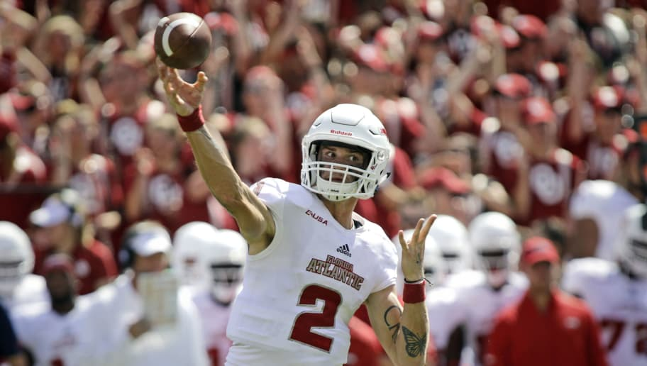 NORMAN, OK - SEPTEMBER 01: Quarterback Chris Robison #2 of the Florida Atlantic Owls throws against the Oklahoma Sooners at Gaylord Family Oklahoma Memorial Stadium on September 1, 2018 in Norman, Oklahoma. The Sooners defeated the Owls 63-14. (Photo by Brett Deering/Getty Images)