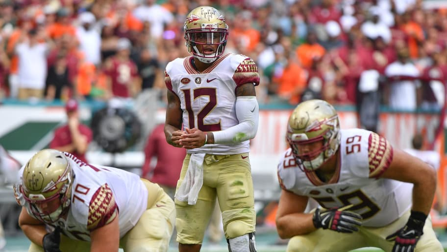 MIAMI, FL - OCTOBER 06: Deondre Francois #12 of the Florida State Seminoles in action during the game against the Miami Hurricanes at Hard Rock Stadium on October 6, 2018 in Miami, Florida. (Photo by Mark Brown/Getty Images)