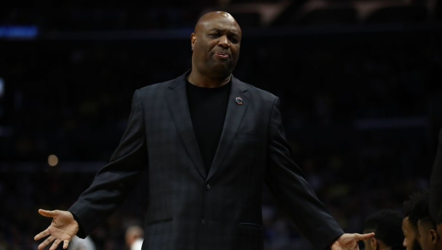 LOS ANGELES, CA - MARCH 24:  Head coach Leonard Hamilton of the Florida State Seminoles reacts against the Michigan Wolverines during the first half in the 2018 NCAA Men's Basketball Tournament West Regional Final at Staples Center on March 24, 2018 in Los Angeles, California.  (Photo by Ezra Shaw/Getty Images)