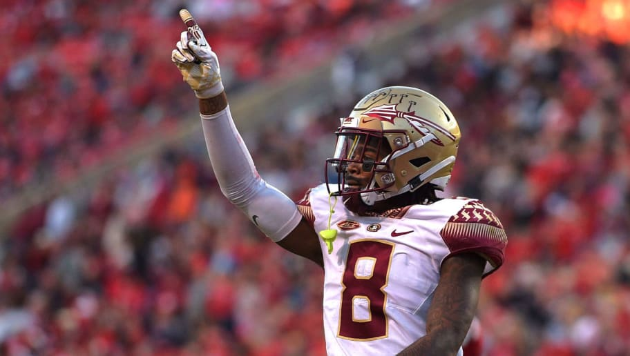 RALEIGH, NC - NOVEMBER 03: Stanford Samuels III #8 of the Florida State Seminoles taunts the North Carolina State Wolfpack fans after a defensive play at Carter-Finley Stadium on November 3, 2018 in Raleigh, North Carolina. (Photo by Lance King/Getty Images)
