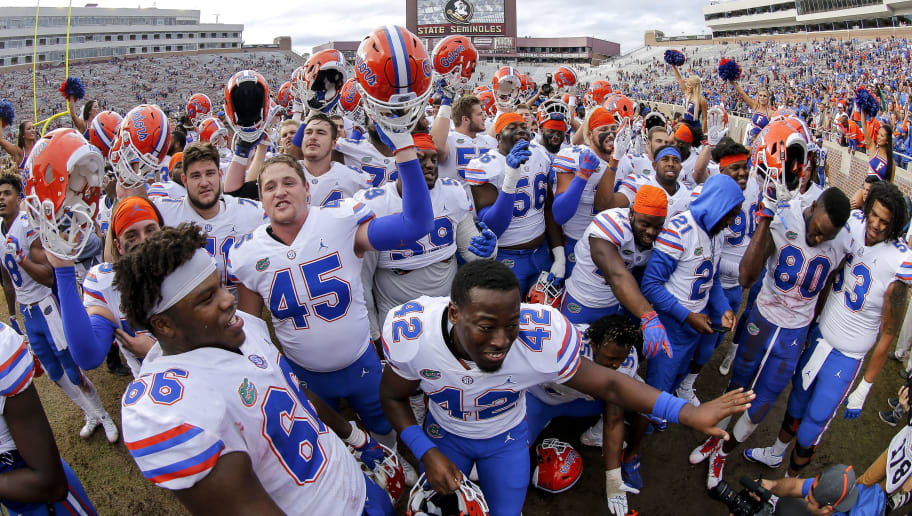TALLAHASSEE, FL - NOVEMBER 24: The Florida Gators celebrate after the game against the Florida State Seminoles at Doak Campbell Stadium on Bobby Bowden Field on November 24, 2018 in Tallahassee, Florida. The #11 Ranked Florida Gators defeated the Florida State Seminoles 41 to 14. (Photo by Don Juan Moore/Getty Images)