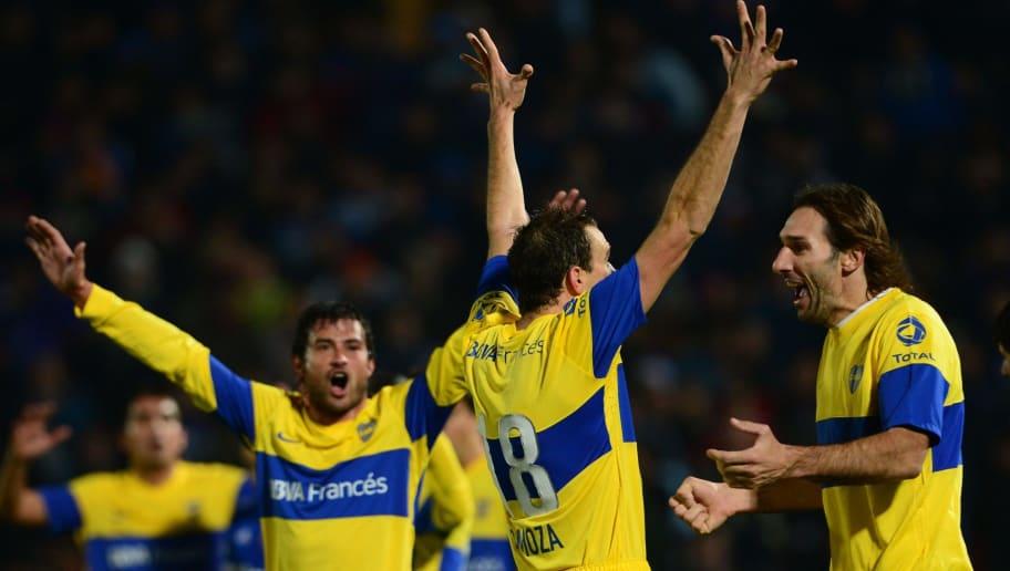 Footballers of Argentina's team Boca Jun
