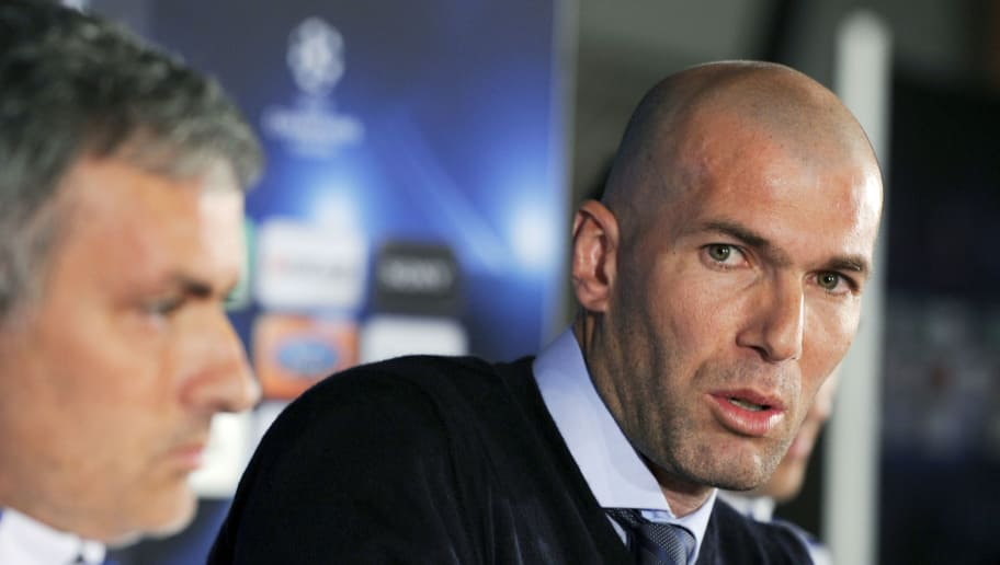 Former French football player Zinedine Zidane speaks near Real Madrid's Portuguese coach Jose Mourinho (L) during a press conference on the eve of UEFA Champions league football match Lyon versus Real Madrid on February 21, 2011 at the Gerland stadium in LyonAFP PHOTO/PHILIPPE DESMAZES (Photo credit should read PHILIPPE DESMAZES/AFP/Getty Images)