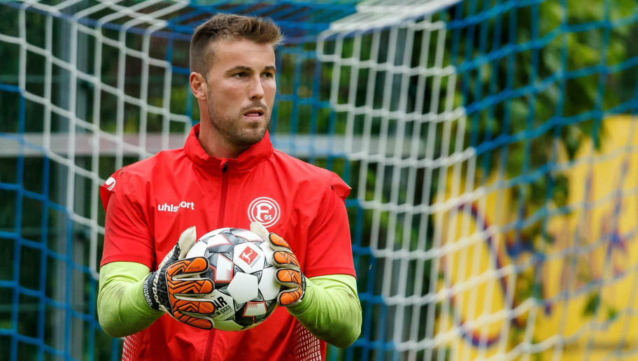 MARIA ALM, AUSTRIA - JULY 22: Goalkeeper Michael Rensing of Fortuna Duesseldorf controls the ball during the Fortuna Duesseldorf training camp on July 22, 2018 in Maria Alm, Austria. (Photo by TF-Images/Getty Images)