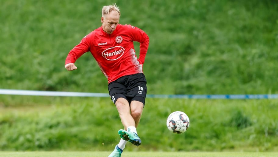 MARIA ALM, AUSTRIA - JULY 23: Havard Nielsen of Fortuna Duesseldorf controls the ball during the Fortuna Duesseldorf training camp on July 23, 2018 in Maria Alm, Austria. (Photo by TF-Images/Getty Images)