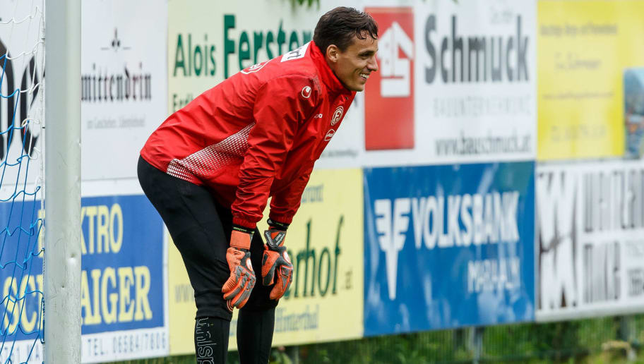 MARIA ALM, AUSTRIA - JULY 22: Goalkeeper Raphael Wolf of Fortuna Duesseldorf looks on during the Fortuna Duesseldorf training camp on July 22, 2018 in Maria Alm, Austria. (Photo by TF-Images/Getty Images)