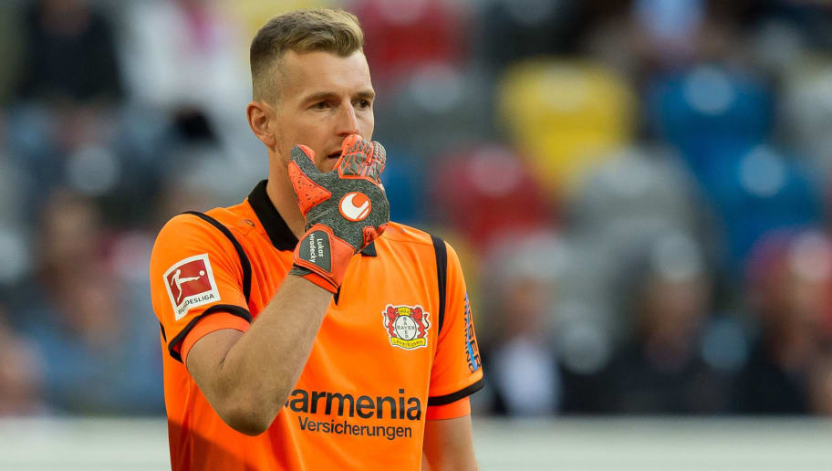 DUESSELDORF, GERMANY - SEPTEMBER 26: Goalkeeper Lukas Hradecky of Bayer 04 Leverkusen looks on during the Bundesliga match between Fortuna Duesseldorf and Bayer 04 Leverkusen at Merkur Spiel-Arena on September 26, 2018 in Duesseldorf, Germany. (Photo by TF-Images/Getty Images)