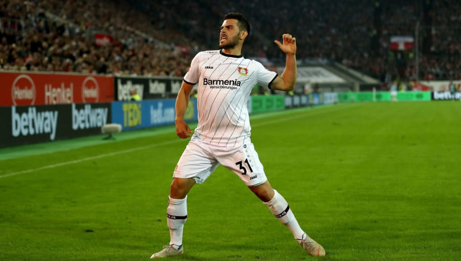 DUESSELDORF, GERMANY - SEPTEMBER 26:  Kevin Volland #31 of Leverkusen celebrates after he scores the 2nd goal during the Bundesliga match between Fortuna Duesseldorf and Bayer 04 Leverkusen at Esprit-Arena on September 26, 2018 in Duesseldorf, Germany.  (Photo by Lars Baron/Bongarts/Getty Images)