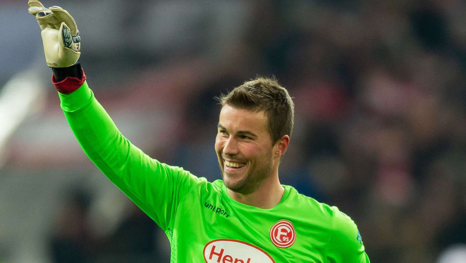 DUESSELDORF, GERMANY - DECEMBER 18: Goalkeeper Michael Rensing of Fortuna Duesseldorf gestures during the Bundesliga match between Fortuna Duesseldorf and Borussia Dortmund at Esprit-Arena on December 18, 2018 in Duesseldorf, Germany.(Photo by TF-Images/TF-Images via Getty Images)