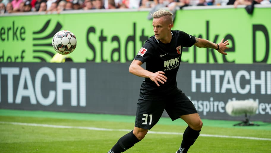 DUESSELDORF, GERMANY - AUGUST 25: Philipp Max of FC Augsburg controls the ball during the Bundesliga match between Fortuna Duesseldorf and FC Augsburg at Esprit-Arena on August 25, 2018 in Duesseldorf, Germany. (Photo by TF-Images/Getty Images)