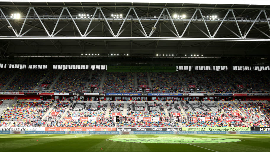 DUESSELDORF, GERMANY - AUGUST 25:  General view inside the stadium prior to the Bundesliga match between Fortuna Duesseldorf and FC Augsburg at Merkur Spiel-Arena on August 25, 2018 in Duesseldorf, Germany.  (Photo by Maja Hitij/Bongarts/Getty Images)