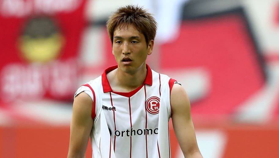 DUESSELDORF, GERMANY - APRIL 22: Genki Haraguchi of Duesseldorf is seen during the Second Bundesliga match between Fortuna Duesseldorf and FC Ingolstadt 04 at Esprit-Arena on April 22, 2018 in Duesseldorf, Germany. (Photo by Christof Koepsel/Bongarts/Getty Images)