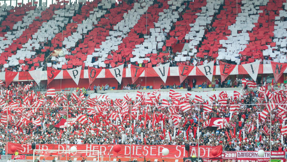 DUESSELDORF, GERMANY - OCTOBER 06: Supporters of Duesseldorf show a choreo during the Bundesliga match between Fortuna Duesseldorf and FC Schalke 04 at Esprit-Arena on October 6, 2018 in Duesseldorf, Germany. (Photo by TF-Images/TF-Images via Getty Images)