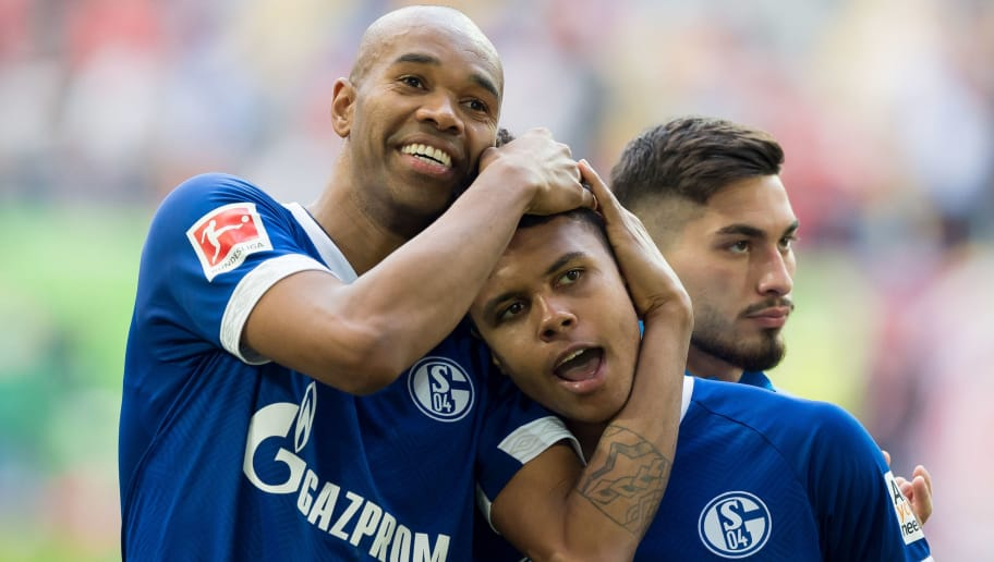 DUESSELDORF, GERMANY - OCTOBER 06: Naldo of Schalke and Weston McKennie of Schalke celebrates after winning the Bundesliga match between Fortuna Duesseldorf and FC Schalke 04 at Esprit-Arena on October 6, 2018 in Duesseldorf, Germany. (Photo by TF-Images/TF-Images via Getty Images)