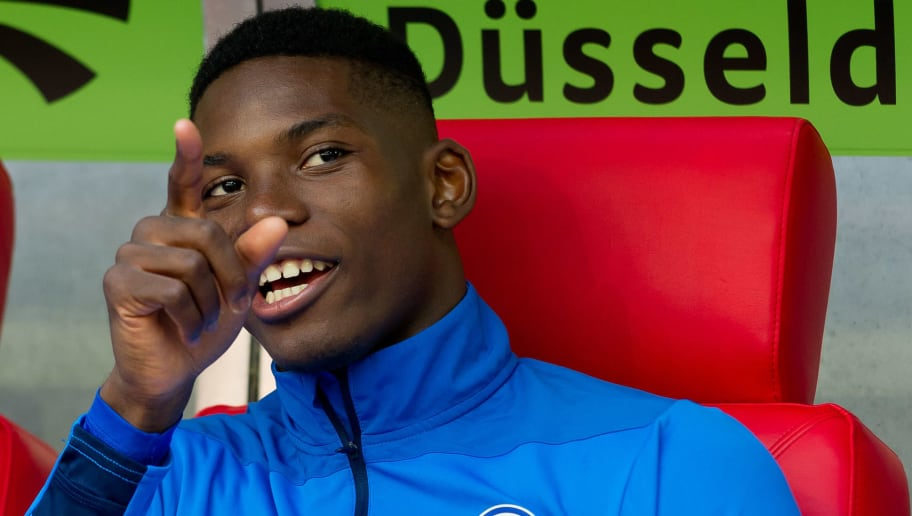 DUESSELDORF, GERMANY - OCTOBER 06: Breel Embolo of Schalke looks on during the Bundesliga match between Fortuna Duesseldorf and FC Schalke 04 at Esprit-Arena on October 6, 2018 in Duesseldorf, Germany. (Photo by TF-Images/TF-Images via Getty Images)