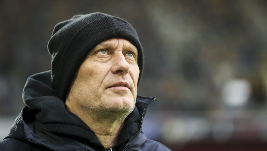 DUESSELDORF, GERMANY - DECEMBER 15: Christian Streich of SC Freiburg looks on prior to the Bundesliga match between Fortuna Duesseldorf and Sport-Club Freiburg at Esprit-Arena on December 15, 2018 in Duesseldorf, Germany. (Photo by Maja Hitij/Bongarts/Getty Images)