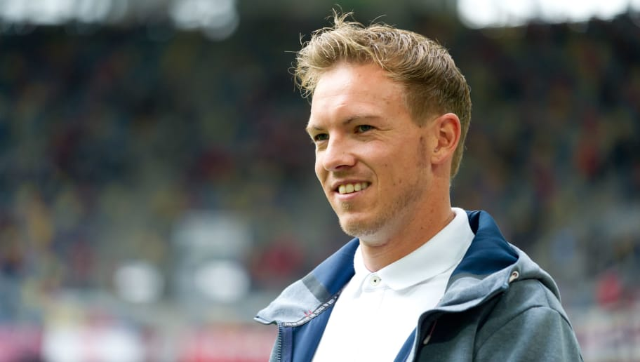 DUESSELDORF, GERMANY - SEPTEMBER 15: Head coach Julian Nagelsmann of Hoffenheim looks on during the Bundesliga match between Fortuna Duesseldorf and TSG 1899 Hoffenheim at Esprit-Arena on September 15, 2018 in Duesseldorf, Germany. (Photo by TF-Images/TF-Images via Getty Images)