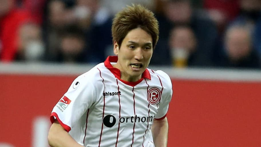 DUESSELDORF, GERMANY - APRIL 06: Genki Haraguchi of Duesseldorf runs with the ball during the Second Bundesliga match between Fortuna Duesseldorf and VfL Bochum 1848 at Esprit-Arena on April 6, 2018 in Duesseldorf, Germany. The match between Duesseldorf and Bochum ended 1-2. (Photo by Christof Koepsel/Bongarts/Getty Images)