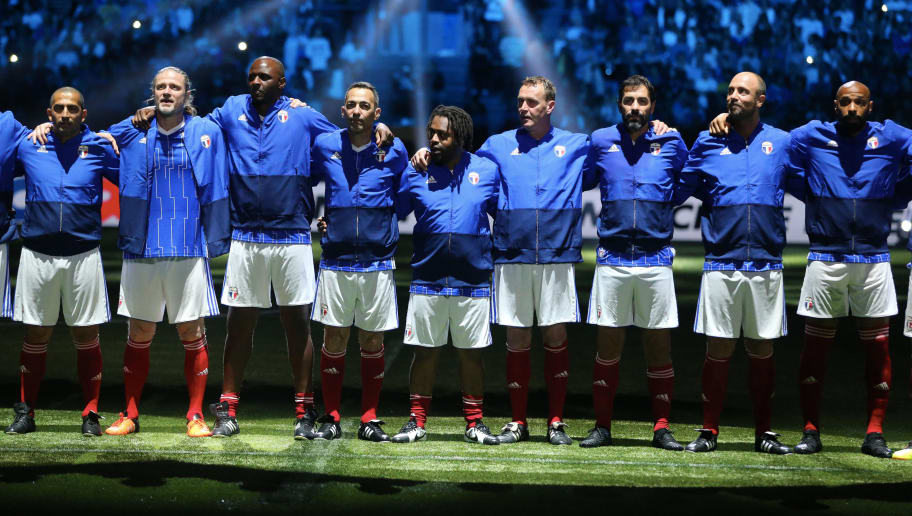 NANTERRE, FRANCE - JUNE 12:  Player of France 98 pose during the Friendly match between France 98 and FIFA 98 at U Arena on June 12, 2018 in Nanterre near Paris, France.  (Photo by Xavier Laine/Getty Images)