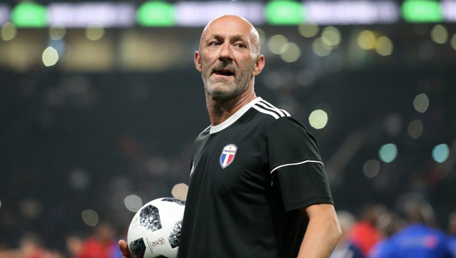 NANTERRE, FRANCE - JUNE 12:  Fabien Barthez of France reacts before the Friendly match between France 98 and FIFA 98 at U Arena on June 12, 2018 in Nanterre near Paris, France.  (Photo by Xavier Laine/Getty Images)