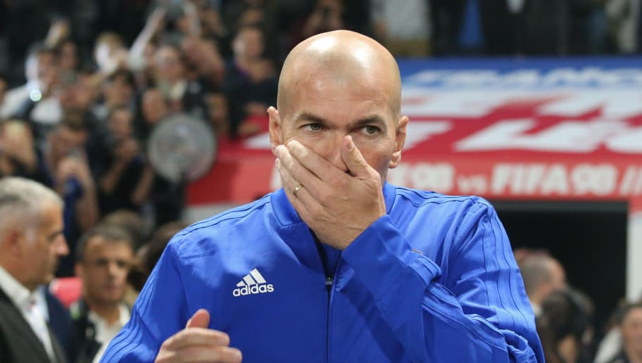 NANTERRE, FRANCE - JUNE 12:  Zinedine Zidane of France reacts before the Friendly match between France 98 and FIFA 98 at U Arena on June 12, 2018 in Nanterre near Paris, France.  (Photo by Xavier Laine/Getty Images)