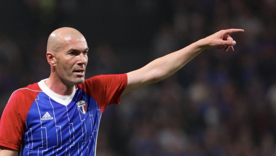 NANTERRE, FRANCE - JUNE 12:  Zinedine Zidane of France reacts during the Friendly match between France 98 and FIFA 98 at U Arena on June 12, 2018 in Nanterre near Paris, France.  (Photo by Xavier Laine/Getty Images)