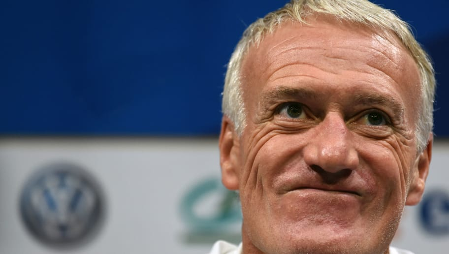 CLAIREFONTAINE, FRANCE - OCTOBER 08:  French Soccer team head coach Didier Deschamps answers questions during a press conference before a training session on October 8, 2018 in Clairefontaine, France.  (Photo by Frederic Stevens/Getty Images)