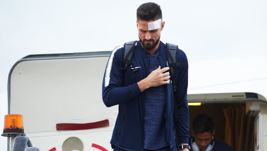 MOSCOW, RUSSIA - JUNE 10: Olivier Giroud of France football team player arrives to compete in the 2018 World Cup at Sheremetyevo on June 10, 2018 in Moscow, Russia. (Photo by Oleg Nikishin/Getty Images)