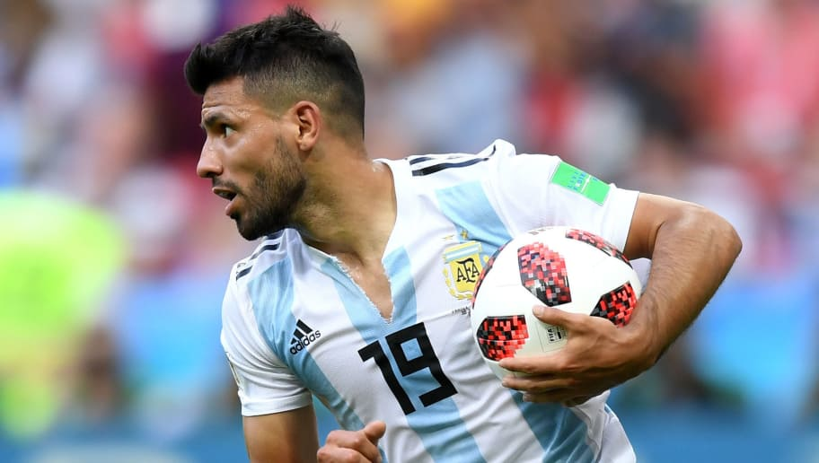 KAZAN, RUSSIA - JUNE 30:  Serigo Aguero of Argentina celebrates after scoring his team's third goal during the 2018 FIFA World Cup Russia Round of 16 match between France and Argentina at Kazan Arena on June 30, 2018 in Kazan, Russia.  (Photo by Shaun Botterill/Getty Images)