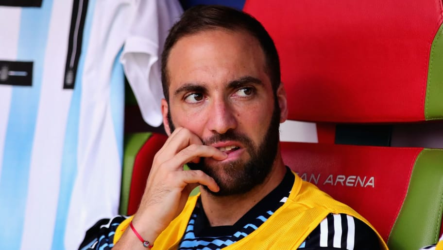 KAZAN, RUSSIA - JUNE 30: Gonzalo Higuain of Argentina looks on from the substitutes bench during the 2018 FIFA World Cup Russia Round of 16 match between France and Argentina at Kazan Arena on June 30, 2018 in Kazan, Russia.  (Photo by Chris Brunskill/Fantasista/Getty Images)