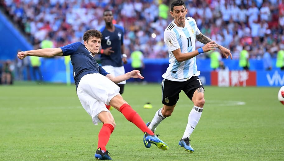 KAZAN, RUSSIA - JUNE 30:  Benjamin Pavard of France shoots and scores his side's second goal during the 2018 FIFA World Cup Russia Round of 16 match between France and Argentina at Kazan Arena on June 30, 2018 in Kazan, Russia.  (Photo by Laurence Griffiths/Getty Images)