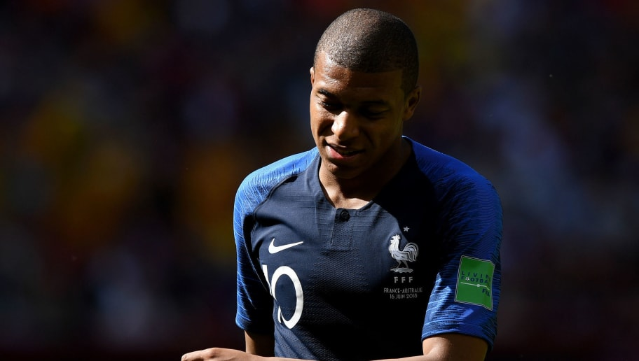 KAZAN, RUSSIA - JUNE 16:  Kylian Mbappe of France reacts during the 2018 FIFA World Cup Russia group C match between France and Australia at Kazan Arena on June 16, 2018 in Kazan, Russia.  (Photo by Shaun Botterill/Getty Images)
