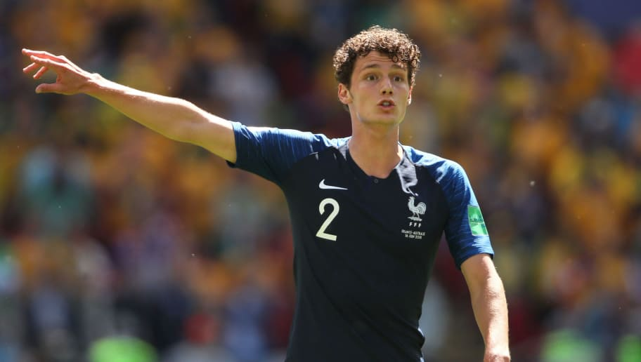 KAZAN, RUSSIA - JUNE 16:  ABenjamin Pavard of France in action during the 2018 FIFA World Cup Russia group C match between France and Australia at Kazan Arena on June 16, 2018 in Kazan, Russia. (Photo by Matthew Ashton - AMA/Getty Images)
