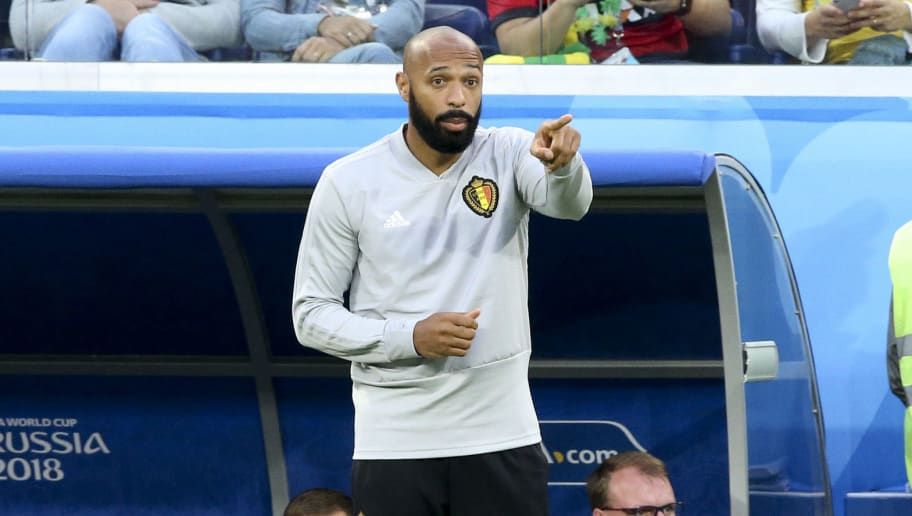 SAINT PETERSBURG, RUSSIA - JULY 10: Assistant coach of Belgium Thierry Henry during the 2018 FIFA World Cup Russia Semi Final match between France and Belgium at Saint Petersburg Stadium on July 10, 2018 in Saint Petersburg, Russia. (Photo by Jean Catuffe/Getty Images)