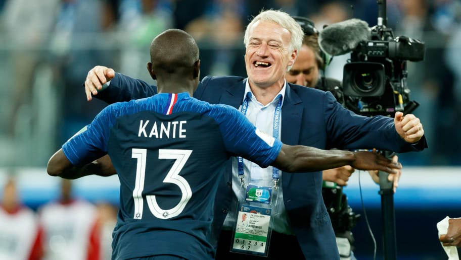 SAINT PETERSBURG, RUSSIA - JULY 10: N'Golo Kante of France and Head coach Didier Deschamps of France celebrate after winning the 2018 FIFA World Cup Russia Semi Final match between France and Belgium at Saint Petersburg Stadium on July 10, 2018 in Saint Petersburg, Russia. (Photo by TF-Images/Getty Images)