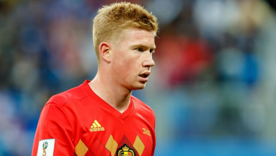 SAINT PETERSBURG, RUSSIA - JULY 10: Kevin de Bruyne of Belgium looks on during the 2018 FIFA World Cup Russia Semi Final match between France and Belgium at Saint Petersburg Stadium on July 10, 2018 in Saint Petersburg, Russia. (Photo by TF-Images/Getty Images)