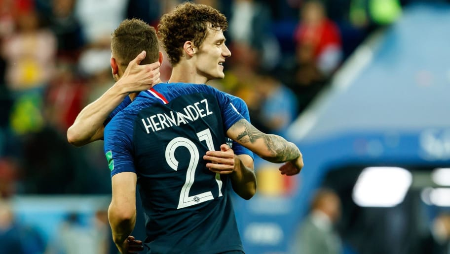 SAINT PETERSBURG, RUSSIA - JULY 10: Lucas Hernandez of France and Benjamin Pavard of France celebrate after winning the 2018 FIFA World Cup Russia Semi Final match between France and Belgium at Saint Petersburg Stadium on July 10, 2018 in Saint Petersburg, Russia. (Photo by TF-Images/Getty Images)