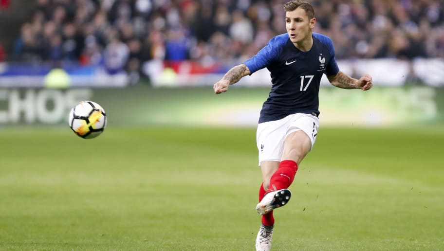 PARIS, FRANCE - MARCH 23: Lucas Digne #17 of France is passing the ball during the international friendly match between France and Colombia at Stade de France on March 23, 2018 in Paris, France. (Photo by Catherine Steenkeste/Getty Images)