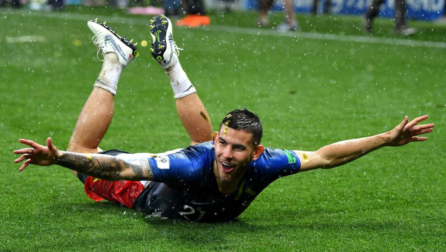 MOSCOW, RUSSIA - JULY 15:  Lucas Hernandez of France celebrates victory following the 2018 FIFA World Cup Final between France and Croatia at Luzhniki Stadium on July 15, 2018 in Moscow, Russia.  (Photo by Dan Mullan/Getty Images)