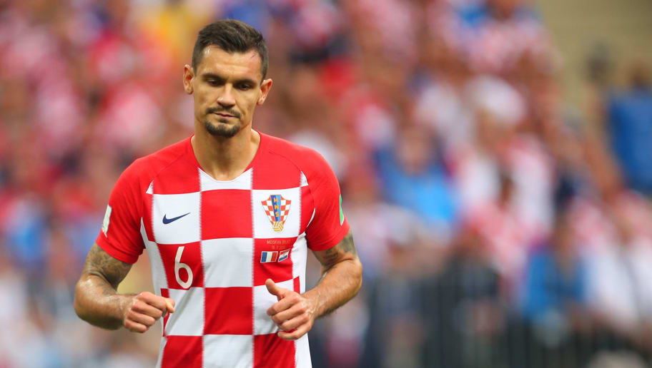 MOSCOW, RUSSIA - JULY 15:   Dejan Lovren of Croatia in action during the 2018 FIFA World Cup Russia Final between France and Croatia at Luzhniki Stadium on July 15, 2018 in Moscow, Russia. (Photo by Robbie Jay Barratt - AMA/Getty Images)