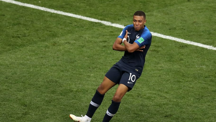 MOSCOW, RUSSIA - JULY 15: Kylian Mbappe of France celebrates after scoring his team's fourth goal during the 2018 FIFA World Cup Russia Final between France and Croatia at Luzhniki Stadium on July 15, 2018 in Moscow, Russia. (Photo by Catherine Ivill/Getty Images)