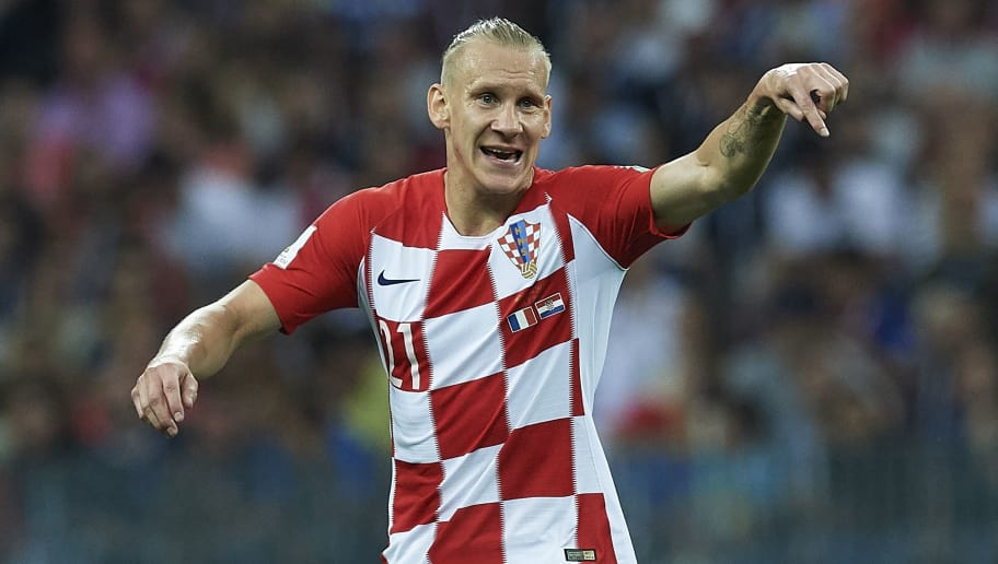 MOSCOW, RUSSIA - JULY 15:  Domagoj Vida of Croatia reacts during the 2018 FIFA World Cup Russia Final between France and Croatia at Luzhniki Stadium on July 15, 2018 in Moscow, Russia.  (Photo by Quality Sport Images/Getty Images)