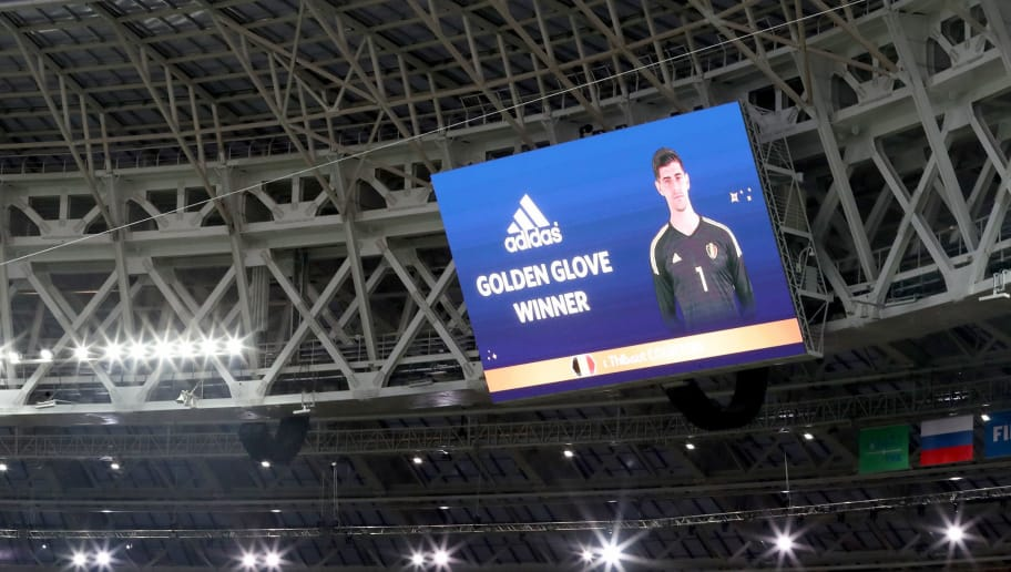 MOSCOW, RUSSIA - JULY 15:  Thibaut Courtois of Belgium is shown as the golden boot winner on the big screen in the stadium following the 2018 FIFA World Cup Final between France and Croatia at Luzhniki Stadium on July 15, 2018 in Moscow, Russia.  (Photo by Catherine Ivill/Getty Images)