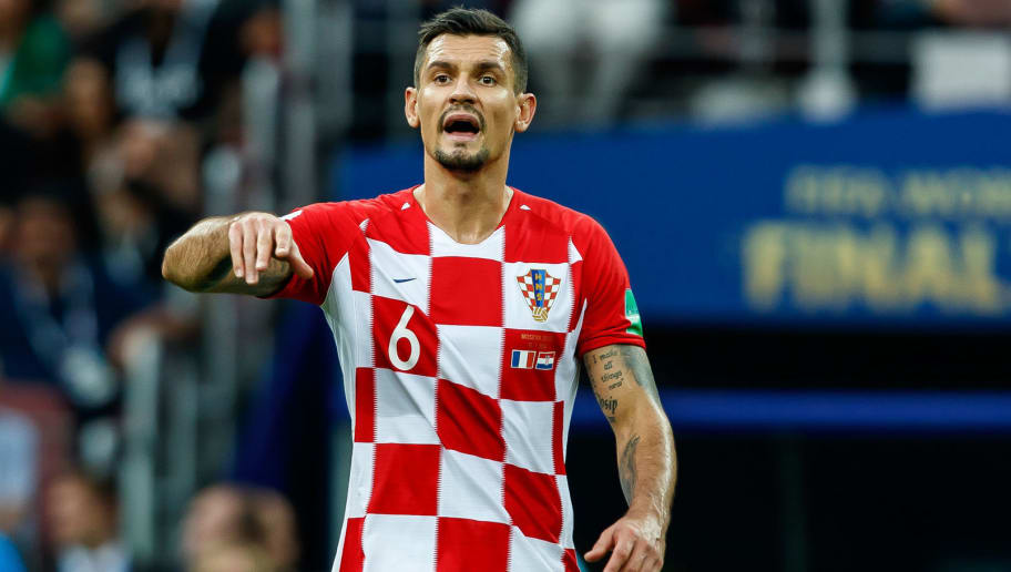MOSCOW, RUSSIA - JULY 15: Dejan Lovren of Croatia gestures during the 2018 FIFA World Cup Russia Final between France and Croatia at Luzhniki Stadium on July 15, 2018 in Moscow, Russia. (Photo by TF-Images/Getty Images)