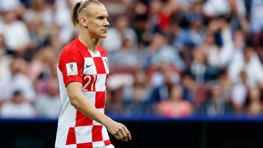 MOSCOW, RUSSIA - JULY 15: Domagoj Vida of Croatia looks on during the 2018 FIFA World Cup Russia Final between France and Croatia at Luzhniki Stadium on July 15, 2018 in Moscow, Russia. (Photo by TF-Images/Getty Images)